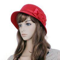 bell cloche - hot sale Ladies Women Outdoor Rose Ribbon Decor Cloche Bucket Bell Hat
