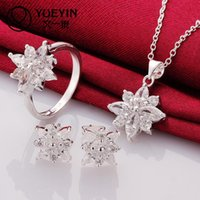 Wholesale sterling silver jewelry silver fashion jewelry Crystal snowflake necklace amp earrings amp ring jewelry sets for women