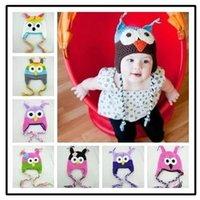 Cheap Free shipping 20pcs lot New Owl EarFlap Crochet Hat, Kids Wool Weaving Hat,Hand-woven Baby Hat,Knitting Wool Children Hat 16 Color choose