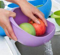 Wholesale Practical Creative Plastic wash rice Colander rice Strainer Sieve bright kitchen plastic vegetable basket