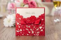 Wholesale Elegant Pearl Wedding Invitation Red Elegant Handmade Laser Cut Chinese Wedding Invitation Card Printable