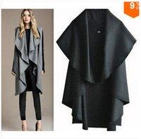 Wholesale New spring autumn winter fashion women s clothing pure color cloth loose big yards cloak ma3 jia3 coat