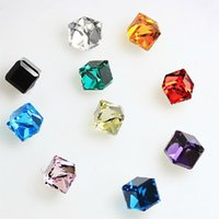 Wholesale Fashion women earings crystal earring shining water cube square crystal stud earrings for women