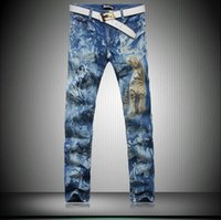 Wholesale Hot Men s print Jeans New arrival Blue skinny jeans men Slim Animal Printed pattern Creative Painted Pants Trousers