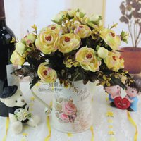 Wholesale Artificial flowers vintage tea bags tea rose silk artificial flowers suit small living room coffee table dining table placed flowers decorat