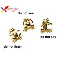 anniversary sayings - 2015 fashion designer gold alloy Do not listen Do not see Do not say Frog figure costume brooch stud pins for women broches