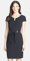 architectural blue - Belted Stretch Sheath Dress Architectural Neckline Short Sleeves Dresses E