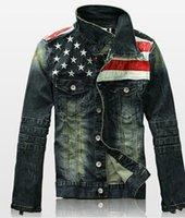 american flag suit jacket - Fall new american flag suit jacket patchwork distressed antique mens denim jean jacket
