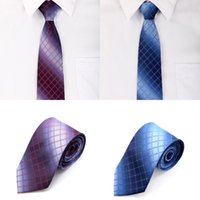Wholesale New Fashion Men s Neck Tie Plaid Check Jacquard Wedding Groom Party Necktie Red Royal Blue GA4004