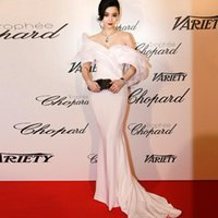 art deco fan - 2015 Fan Bingbing Evening Dresses On Cannes Film Festival Off Shoulder Ruffles Vestidos De Festa Yousef Aljasmi Prom Celebrity Gowns