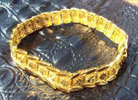 Al por mayor-24K Oro Amarillo hombres llenos de pulsera 8.5
