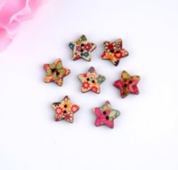 Cheap Free shipping -2015 Random 100pcs Mixed 2 Holes Colorful Stars Shape Flower Wood Sewing Buttons Scrapbooking 18x18mm D2808