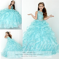 Wholesale 2016 Princess Ball Gown Long Girls Pageant Dresses Crystals Beaded Cascading Ruffles Toddlers Cupcake Pageant Flower Girls Gowns Size