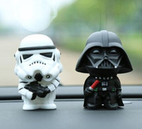 Wholesale 2pcs Car Vehicle Universal Ornament cm quot Star Wars Darth Vader Storm Trooper Dashboard Action Figure Decor Sticker