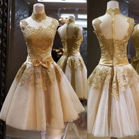 Wholesale 2016 Gold High Neck Prom Dresses Short Tulle Appliques Lace Homecoming Party Gowns Sheer Formal Special Occasion Evening Party Dress