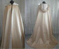 Wholesale 2016 Superior Quality Champagne Satin Faux FurCloak Hooded Long Length Cape For Wedding Bride Winter Wear
