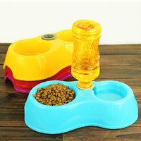 Cheap Wholesale-water dispenser automatic pet feeder double bowl Dog Feeding Watering Supplies puppy pure color eating and drinking bowls