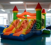 cavaliers gonflables achat en gros de-YARD Double diapositive combo bounce house gonflable bouncer bouncy castle jumper with blower