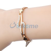 art deco bracelet rhinestone - Jewelry Crystal gold plated hollow rhinestone Chain Bracelets for women New fashion Gift Elegant Art Deco Prom
