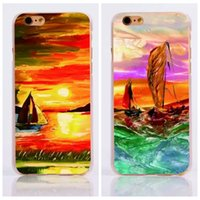 art prints boats - Tree Boat Lover Colorful Printing Oil Painting Fashion Sea Starry Night Art Pattern PC hard Case For iphone S Plus S Cover Skin