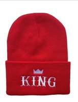 adult king crowns - Designer King Crown Word Embroidery Knitted Beanies Hip Hop Hats For Adults Mens Woman Sports Winter Head Warmer Black Red White Solid Color