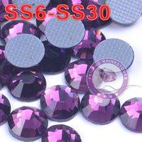 Wholesale DMC SS6 SS30 high quality amethyst hot fix flatback rhinestones transfer for DIY motifs Loose Rhinestones