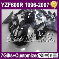 7giftsTank corps tout noir pour Yamaha YZF600R 1996 1997 1998 1999 2000 Thundercat YZF 600R 2004 2005 2006 2007 Gloss plat carénages