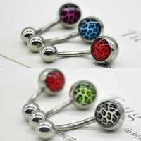 Wholesale 6Pcs set Stainless steel Ball Button Barbell Bar Belly Charm Navel Ring Body Piercing leopard simple belly Navel Ring FYSS0228