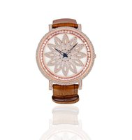 Wholesale Genuine Leather Belt Cubic Zirconia Multi Colors Women s Quartz Watches Fashion Modern Luxury Dress Watches With Rotating Flower Design Dial