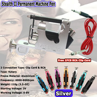 Wholesale HOT stealth Tatto Machine Rotary Tattoo Machine Gun Liner Shader for Tattoo Kits Supply Silver Color Free RCA Clip Cord