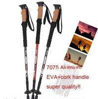 aluminium bar stock - Stock promotion Step aluminium section Hiking pole Telescopic Antishock Pole Walking Stick Cork Handle Bar pc