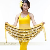 Wholesale Belly Dance Hip Scarf Belt Colors Silver Gold Coins Sequin Bead Polyester Fabric High Quality By EMS