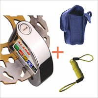 Wholesale 7mm Pin Silver Security Anti Thief Motorbike Motorcycle Scooter Wheel Disc Brake alarm lock with bag reminder cable FreeShipping A3