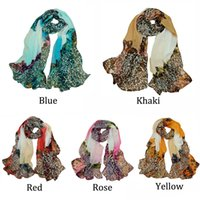 Wholesale Green Begonia Flower Ink Leopard Print Style Long Cotton Neck Scarf fashion woman s Scarves Shawl H6004 H6033