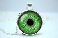 achat en gros de la lumière du mal-10pcs / lot collier vert clair d'oeil, bijoux de troisième oeil, oeil mauvais Collier en verre de Cabochon de verre 6
