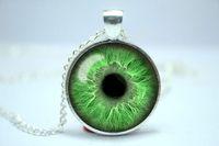 al por mayor luz mala-Collar verde claro del ojo 10pcs / lot, joyería del tercer ojo, collar pendiente 6 del Cabochon del ojo malvado