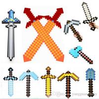 as the pics weapon - 20pcs Foam Diamond Mosaics EVA Sword Pickaxe Axe Gun shovel torch Combo Set designs weapons Gold Grey Blue kids christmas gift HX