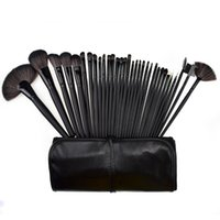 Wholesale 32 Cosmetic Facial Make up Brush Kit Black Nylon Hair Makeup Brushes Without logo black brush bag50sets