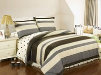 bedsheet fabrics - Brief Stripe and plaid bedding sets cotton reactive printed twill fabric duvet cover bedsheet pillowcase set queen