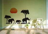 african american abstract art - DIY African Elephants Trees Art Decal Animal Wall Sticker Decor Decals WHM