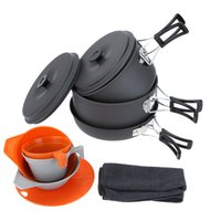 camping cooking pot set - ALOCS People Portable Camping Cookware Pots Pan Bowls Cups Cutting Board Picnic Aluminum Outdoor Cooking Cookware Set Y0524