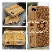 Wholesale 100 Real Natural Dark bamboo wooden for Camera Panda Pattern Hard Shell case cover for iPhone wood case SKU S1C31