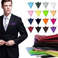 Wholesale Fashion Chic Men s Formal Suits Plain Solid Satin Pocket Square Handkerchief Wedding Party Gentlemen Men Hanky DHL