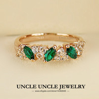 Wholesale Delicate K Rose Gold Plated Olive Branch Style Austrian Crystal Green Emerald Jewelry Lady Finger Ring krgp