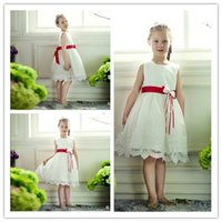 Wholesale A Line Jewel Sleeveless Beads Flower Girls Dresses Cheap High Quality Knee Length Tulle And Lace Lovely Little Girls Pageant Dresses