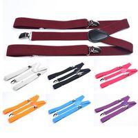 Wholesale Fashion Classic Check Mens Lady Elastic Clip on Adjustable Brace Suspenders XJJ0321W