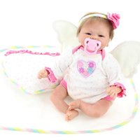 baby fashion games for girls - 18inch Real Look Reborn Baby Lifelike Little Angel Wing Girl Soft Silicone Doll Kits for Kids Change Clothes Game Toys