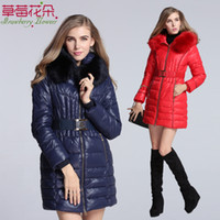 fox fur jacket - Cotton Padded Jacket Women Down Coat Faux Fox Fur Collar Removeable Hooded Long With Belt Zipper Thicken Warmth New Style CM4302