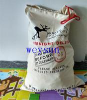 Wholesale DHL Freeshipping Red drawstring Gift Bag Christmas Canvas Santa Sack
