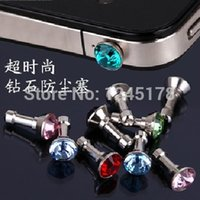 Wholesale Diamond Earphone Headphone anti Dust plug dust Cap for iphone6 s for mm plug mobile phone